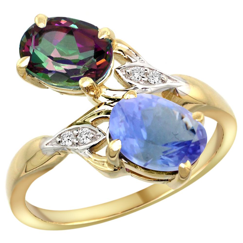 10K Yellow Gold Diamond Natural Mystic Topaz & Tanzanite 2-stone Ring Oval 8x6mm, sizes 5 - 10