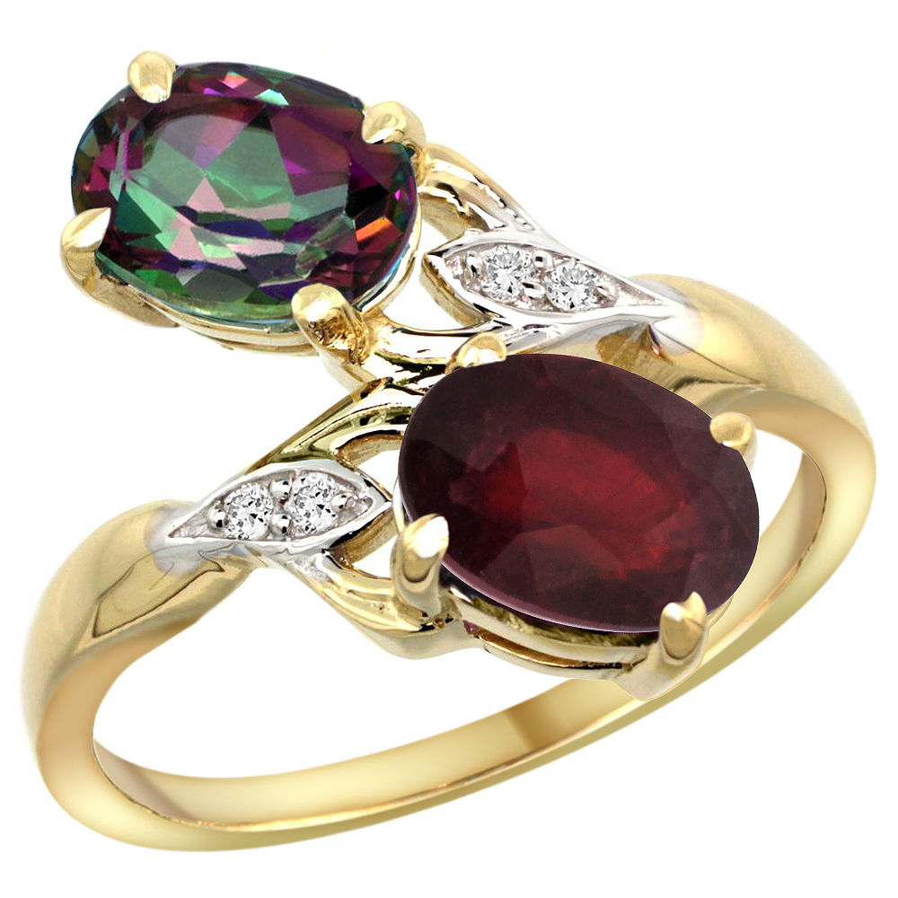 10K Yellow Gold Diamond Natural Mystic Topaz & Quality Ruby 2-stone Mothers Ring Oval 8x6mm, size 5 - 10