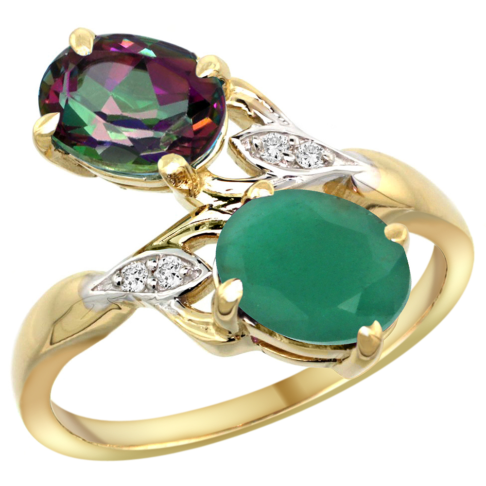 10K Yellow Gold Diamond Natural Mystic Topaz & Quality Emerald 2-stone Mothers Ring Oval 8x6mm, sz 5 - 10