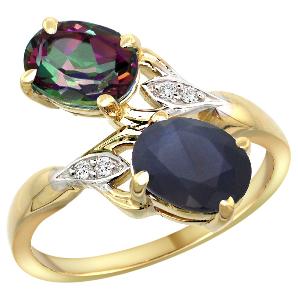 10K Yellow Gold Diamond Natural Mystic Topaz & Quality Blue Sapphire 2-stone Ring Oval 8x6mm, size5 - 10