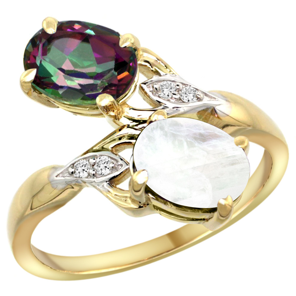 10K Yellow Gold Diamond Natural Mystic Topaz & Rainbow Moonstone 2-stone Ring Oval 8x6mm, sizes 5 - 10
