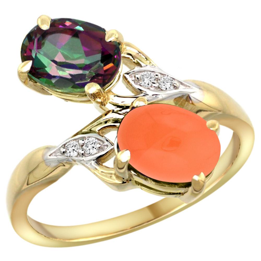 10K Yellow Gold Diamond Natural Mystic Topaz & Orange Moonstone 2-stone Ring Oval 8x6mm, sizes 5 - 10