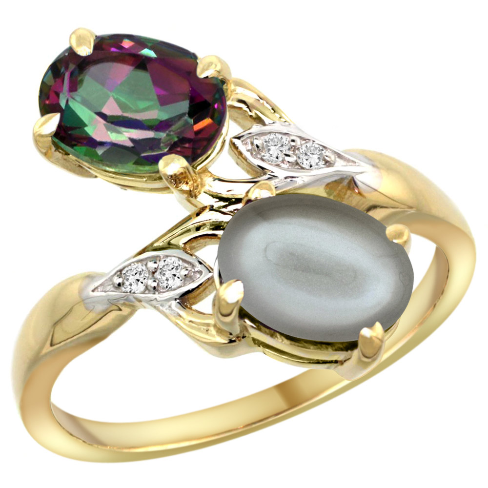 10K Yellow Gold Diamond Natural Mystic Topaz & Gray Moonstone 2-stone Ring Oval 8x6mm, sizes 5 - 10