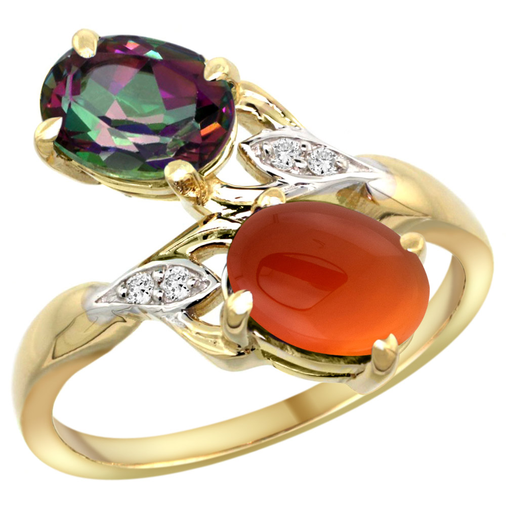 10K Yellow Gold Diamond Natural Mystic Topaz & Brown Agate 2-stone Ring Oval 8x6mm, sizes 5 - 10