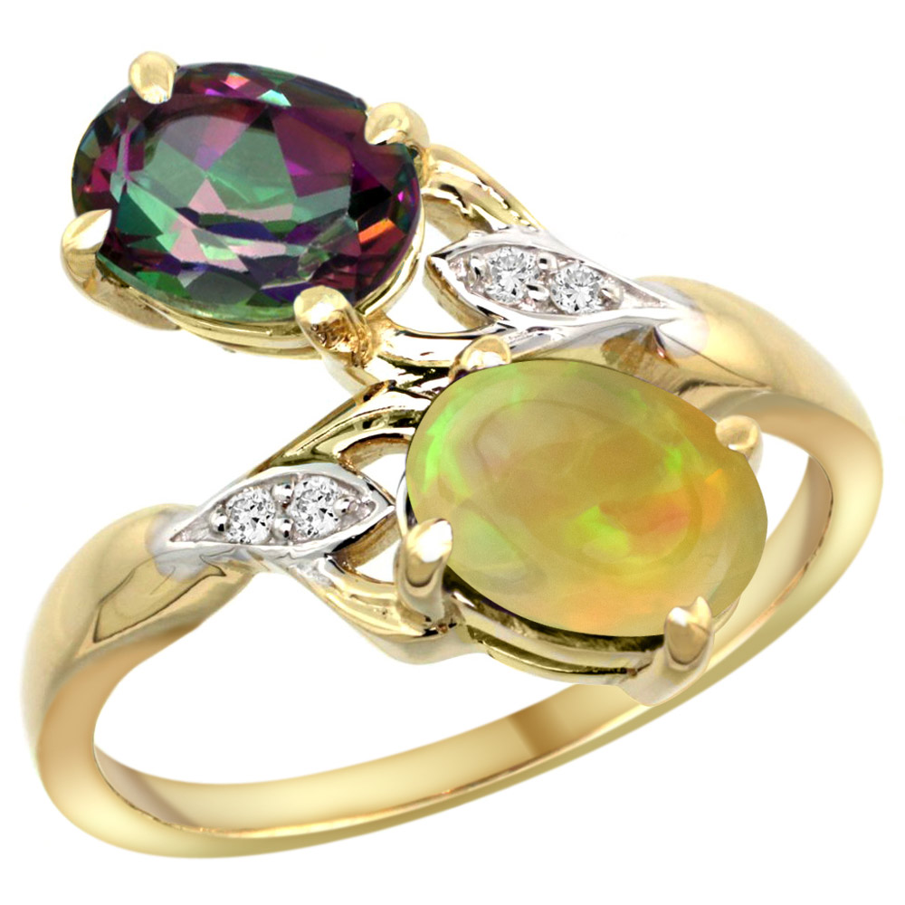 10K Yellow Gold Diamond Natural Mystic Topaz & Ethiopian Opal 2-stone Mothers Ring Oval 8x6mm, size 5-10