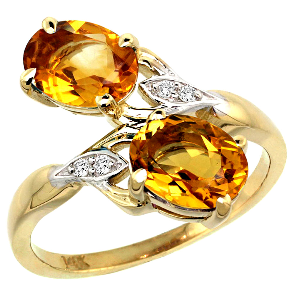 10K Yellow Gold Diamond Natural Citrine 2-stone Ring Oval 8x6mm, sizes 5 - 10