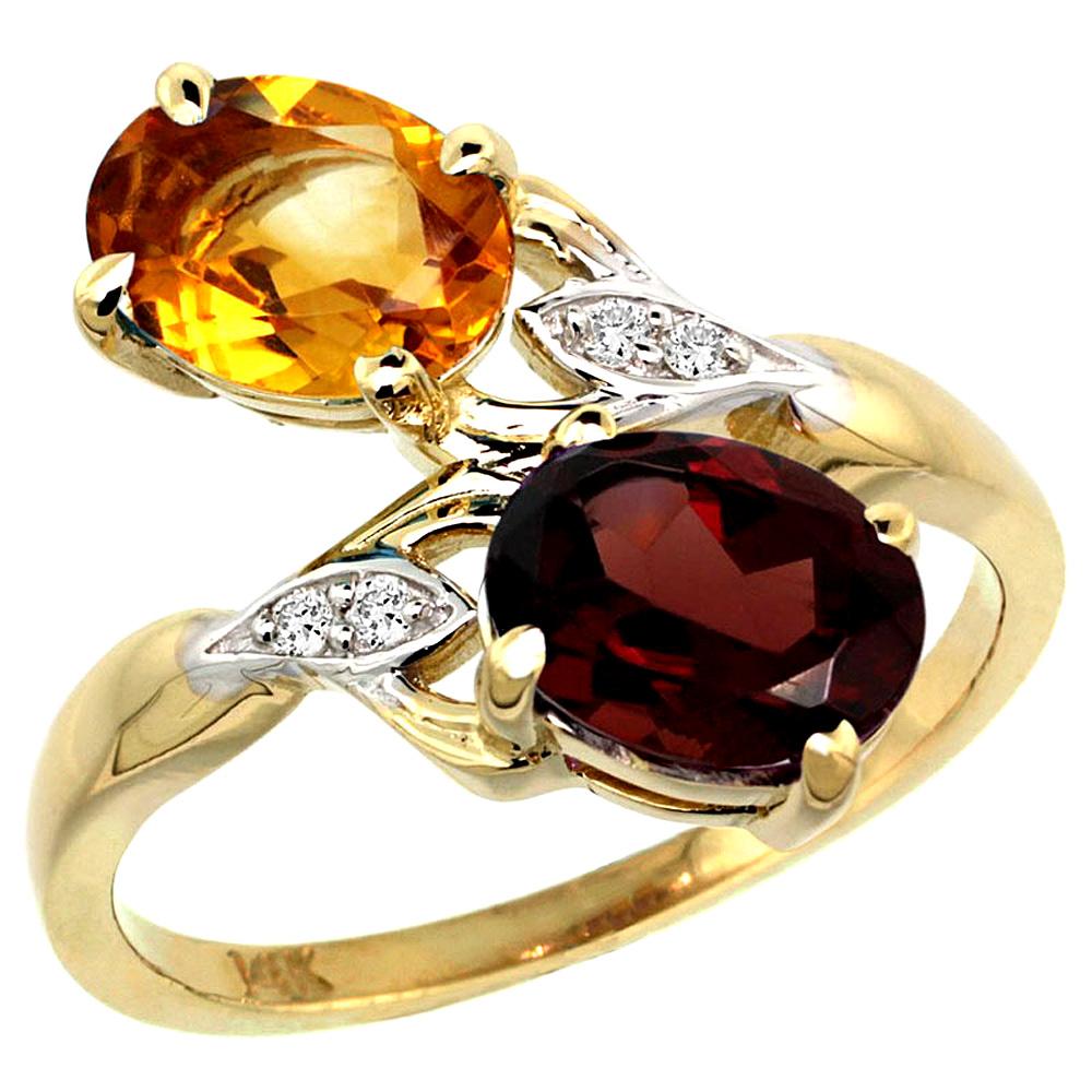10K Yellow Gold Diamond Natural Citrine & Garnet 2-stone Ring Oval 8x6mm, sizes 5 - 10