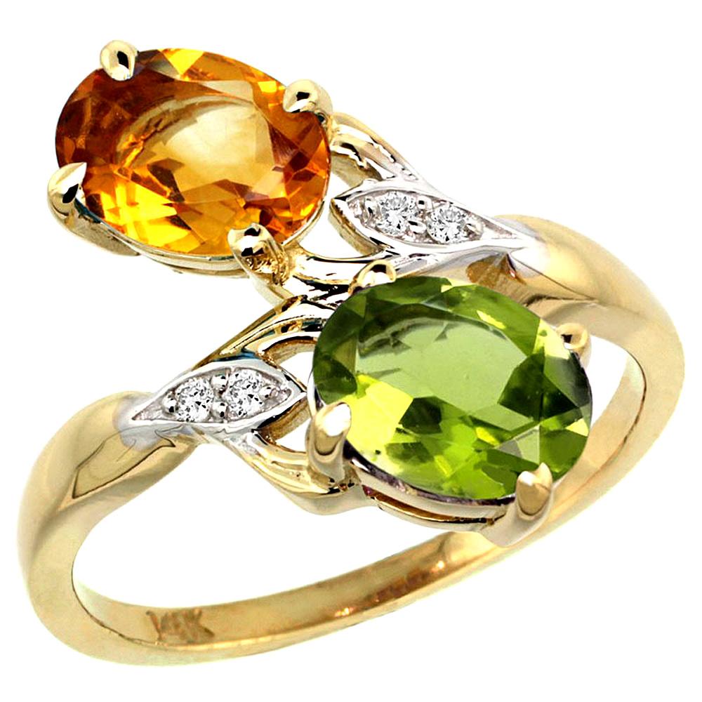 10K Yellow Gold Diamond Natural Citrine & Peridot 2-stone Ring Oval 8x6mm, sizes 5 - 10