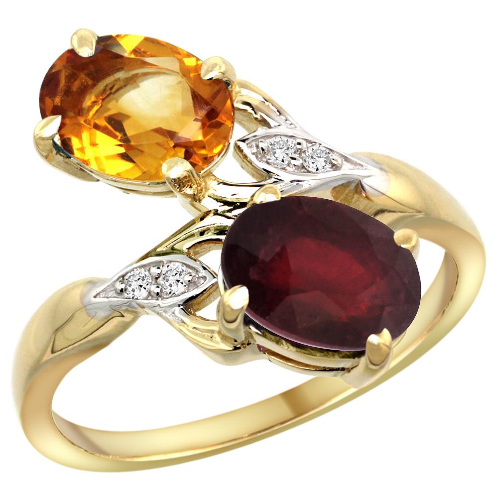10K Yellow Gold Diamond Natural Citrine & Enhanced Genuine Ruby 2-stone Ring Oval 8x6mm, sizes 5 - 10