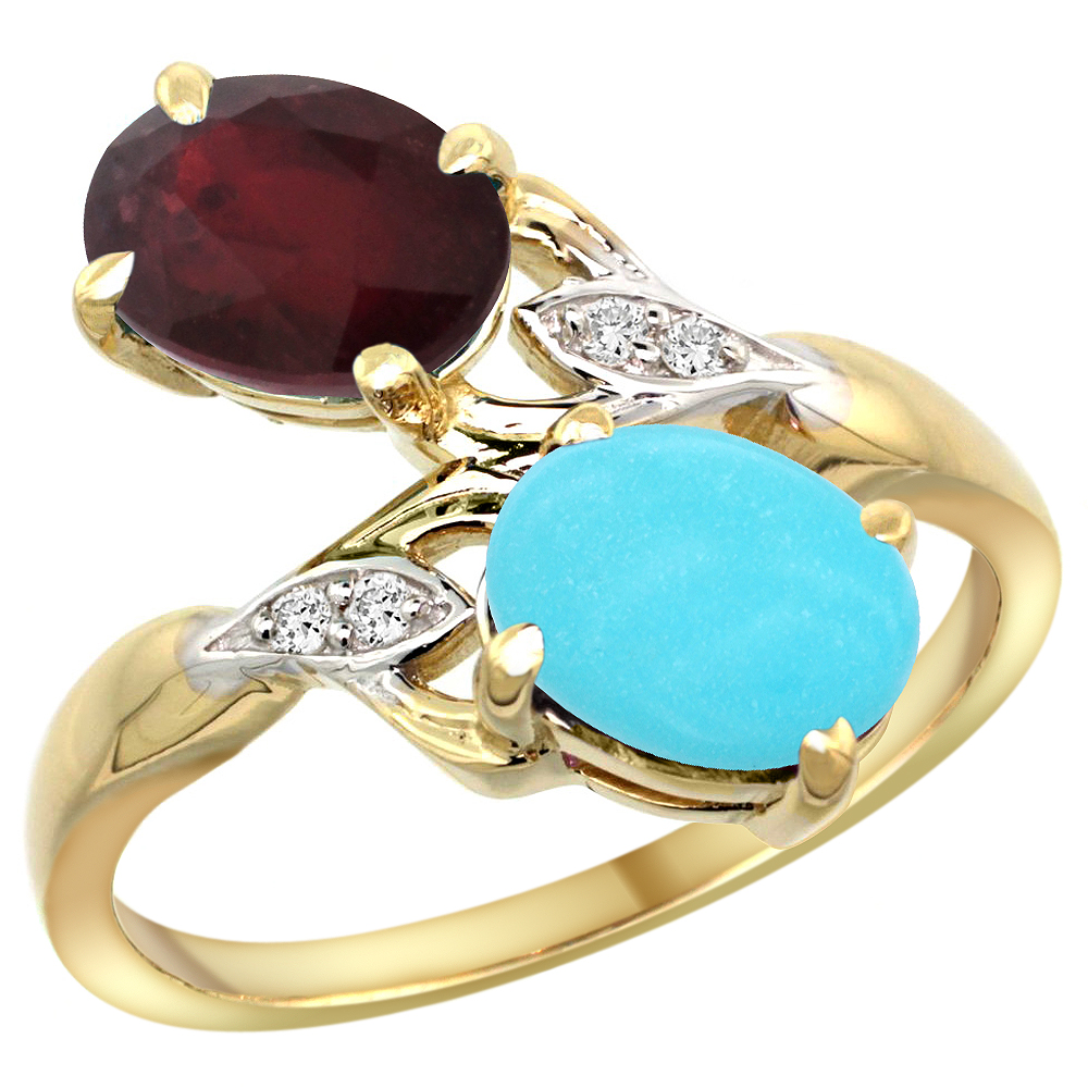 14k Yellow Gold Diamond Enhanced Genuine Ruby & Natural Turquoise 2-stone Ring Oval 8x6mm, sizes 5 - 10