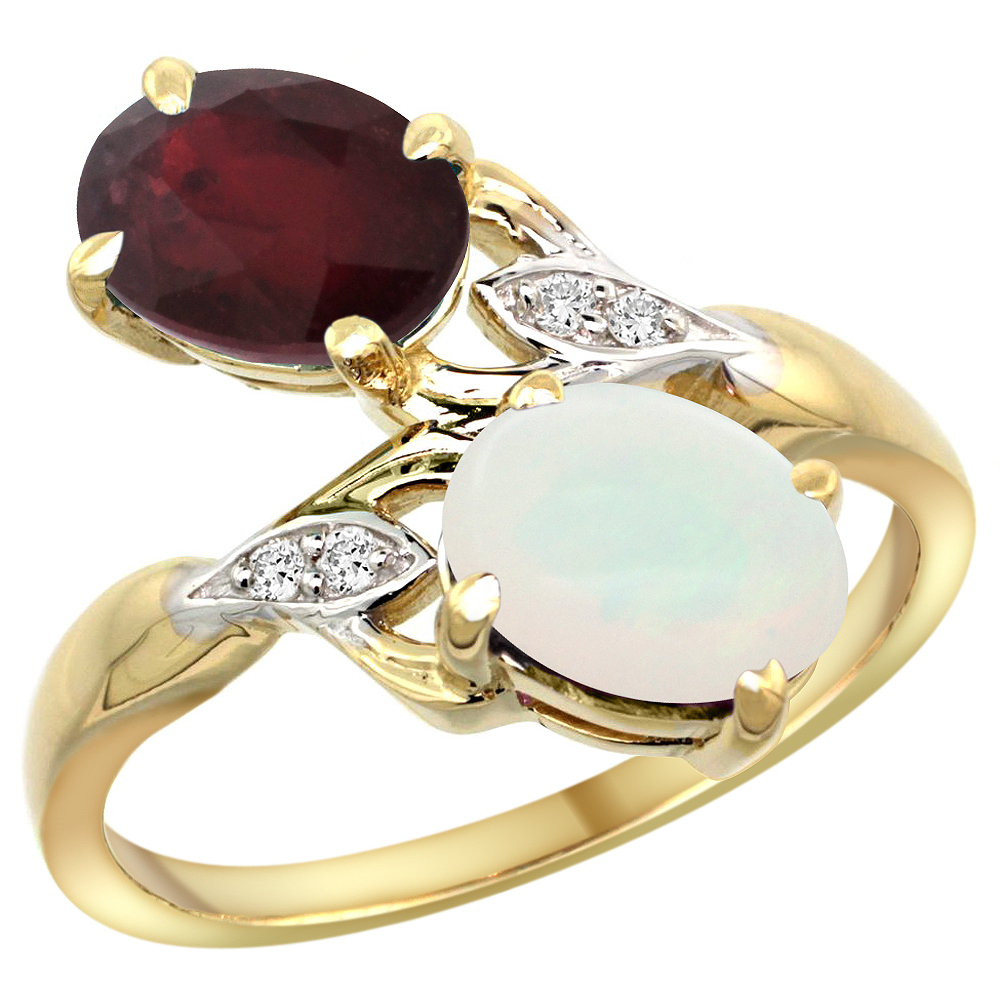 14k Yellow Gold Diamond Enhanced Genuine Ruby & Natural Opal 2-stone Ring Oval 8x6mm, sizes 5 - 10
