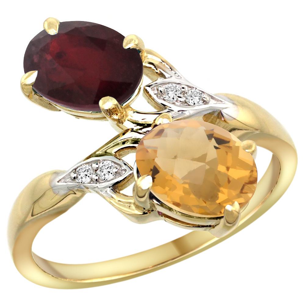 14k Yellow Gold Diamond Enhanced Genuine Ruby & Natural Whisky Quartz 2-stone Ring Oval 8x6mm, sizes 5 - 10