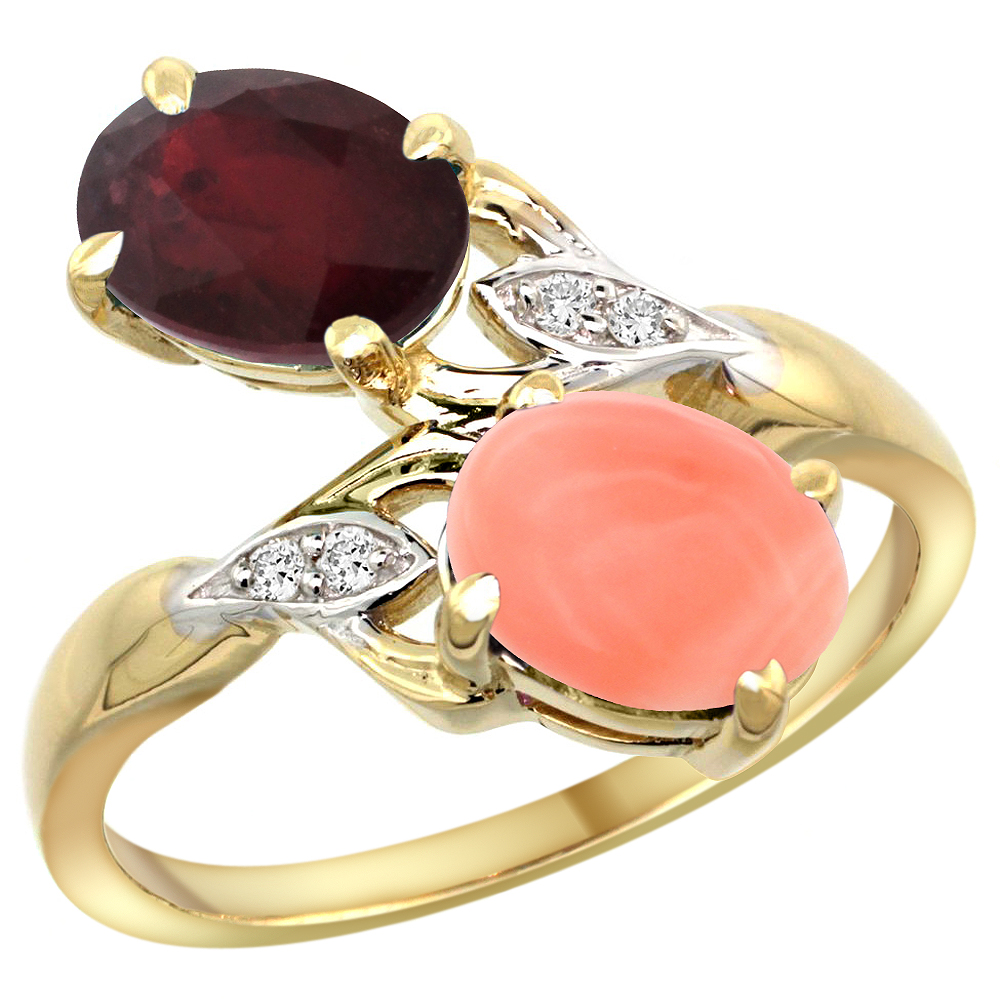 14k Yellow Gold Diamond Enhanced Genuine Ruby & Natural Coral 2-stone Ring Oval 8x6mm, sizes 5 - 10