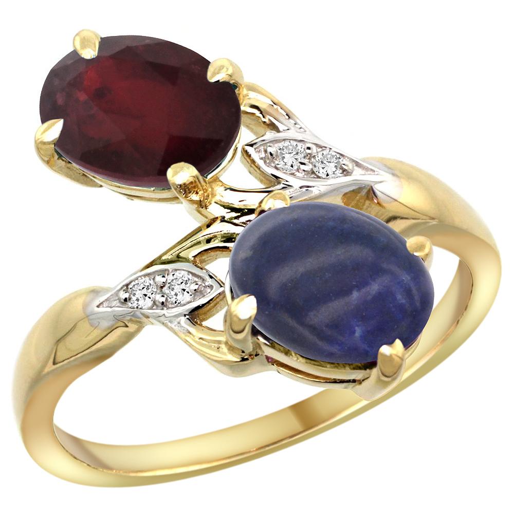 14k Yellow Gold Diamond Enhanced Genuine Ruby & Natural Lapis 2-stone Ring Oval 8x6mm, sizes 5 - 10