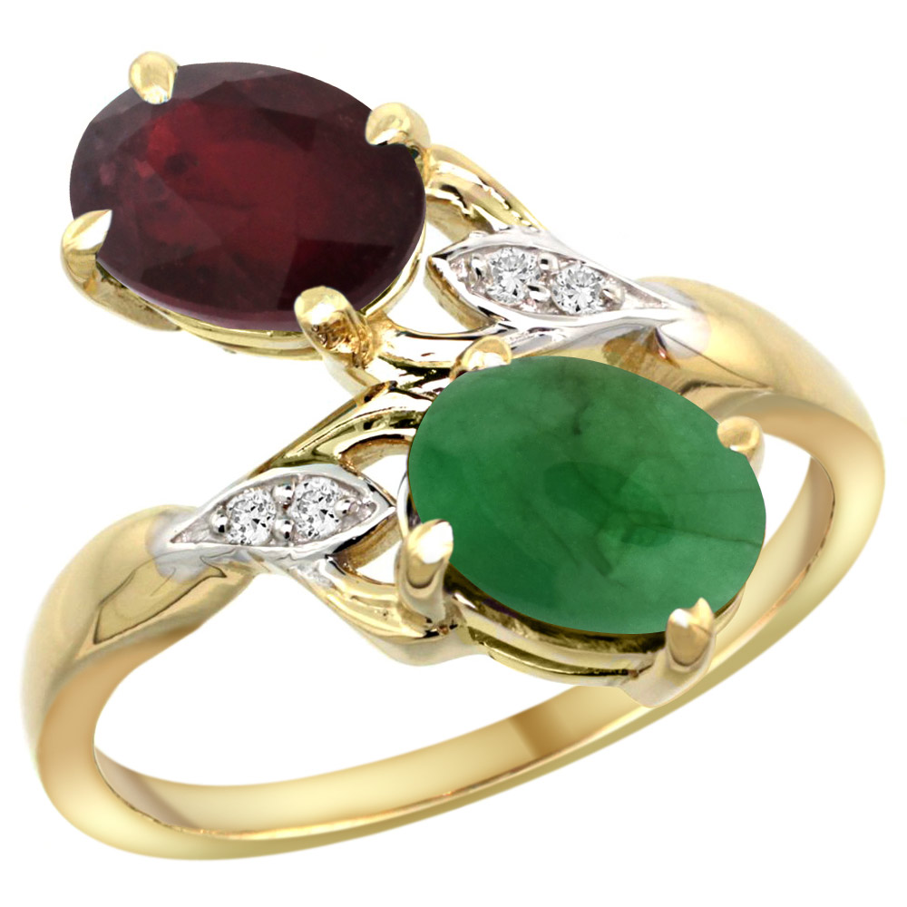 14k Yellow Gold Diamond Enhanced Genuine Ruby & Natural Cabochon Emerald 2-stone Ring Oval 8x6mm, sizes 5 - 10