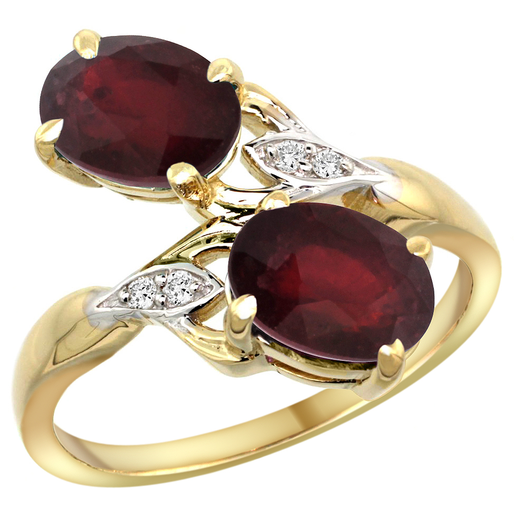 14k Yellow Gold Diamond Enhanced Genuine Ruby & Natural Quality Ruby 2-stone Ring Oval 8x6mm, size 5 - 10