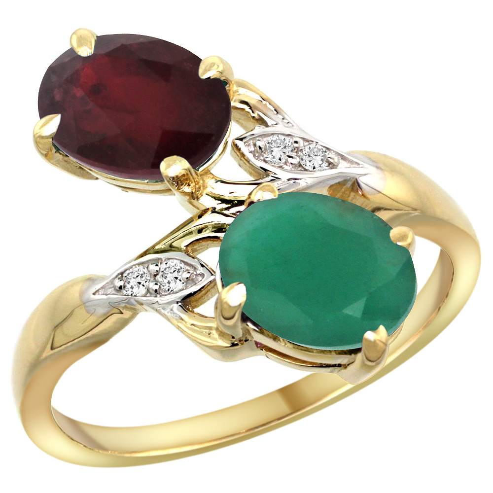 14k Yellow Gold Diamond Enhanced Genuine Ruby & Natural Quality Emerald 2-stone Ring Oval 8x6mm, size5-10