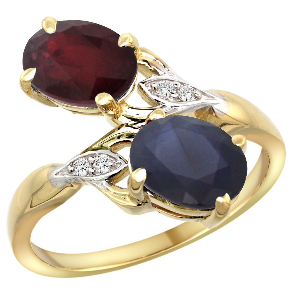 14k Yellow Gold Diamond Enhanced Genuine Ruby&Natural Quality Blue Sapphire 2-stone Ring Oval8x6mm,sz5-10