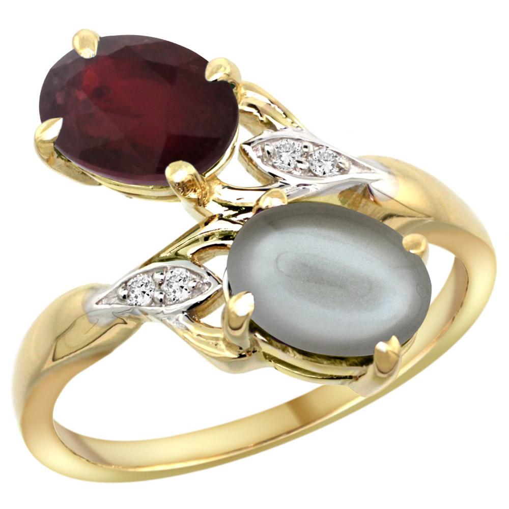 14k Yellow Gold Diamond Enhanced Genuine Ruby & Natural Gray Moonstone 2-stone Ring Oval 8x6mm, sizes 5 - 10