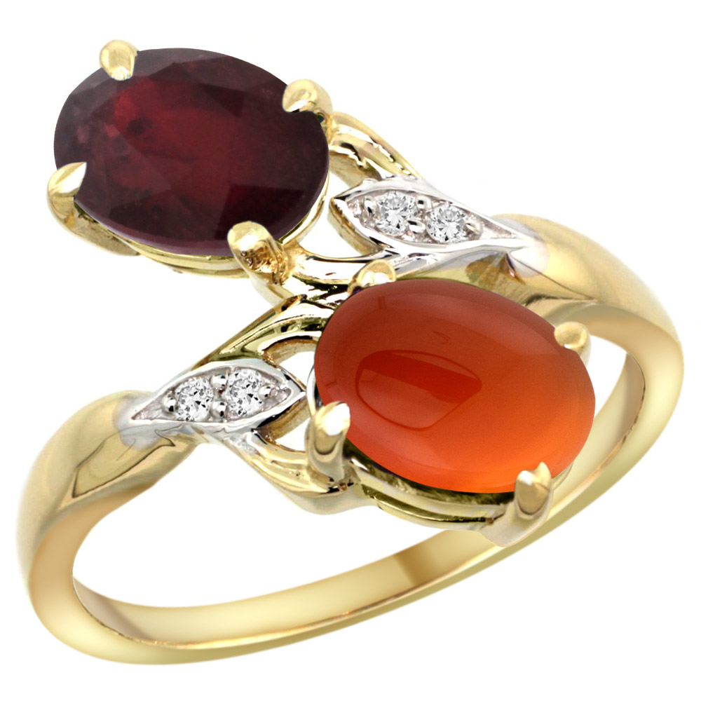 14k Yellow Gold Diamond Enhanced Genuine Ruby & Natural Brown Agate 2-stone Ring Oval 8x6mm, sizes 5 - 10
