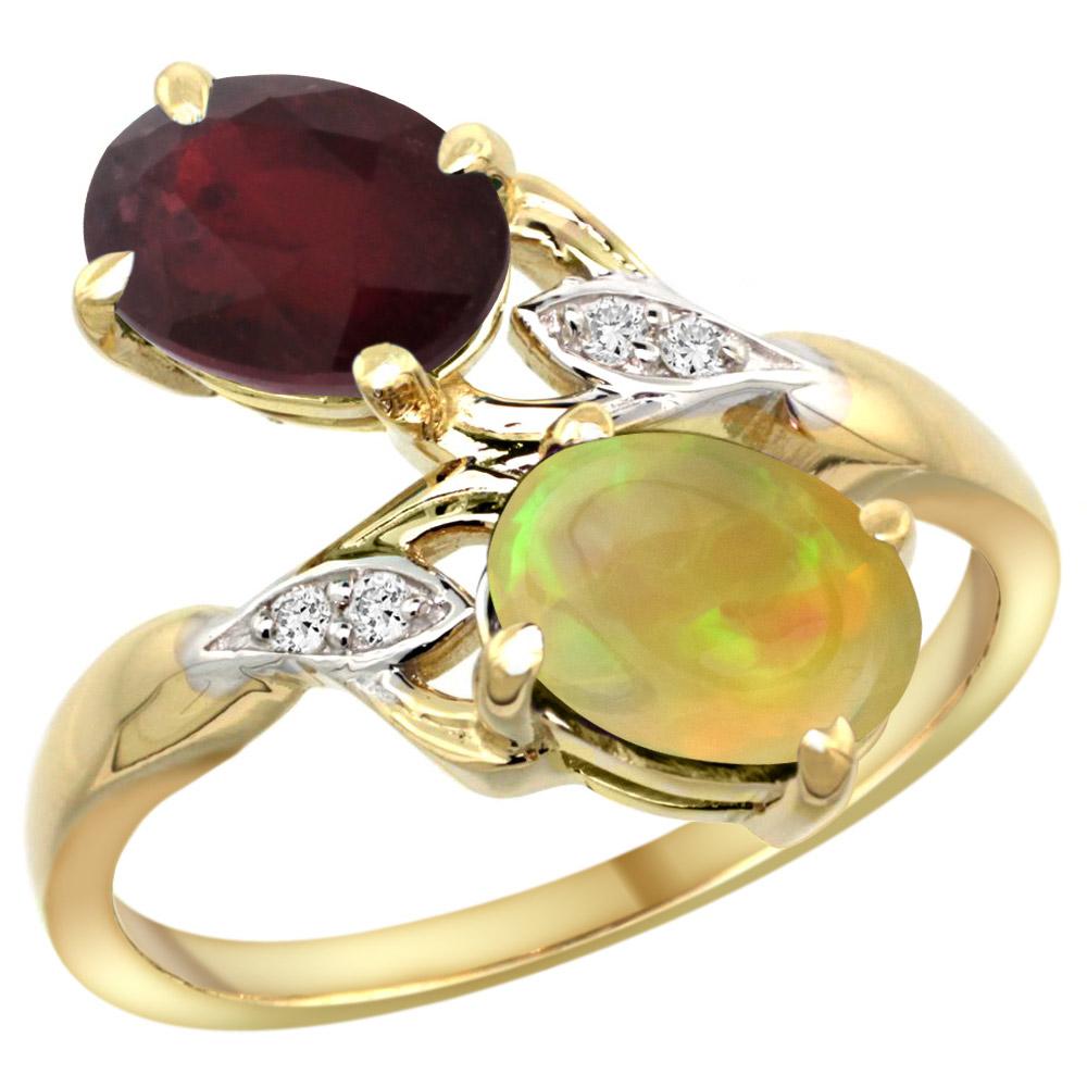 14k Yellow Gold Diamond Enhanced Genuine Ruby&Natural Ethiopian Opal 2-stone Ring Oval 8x6mm,sz5 - 10