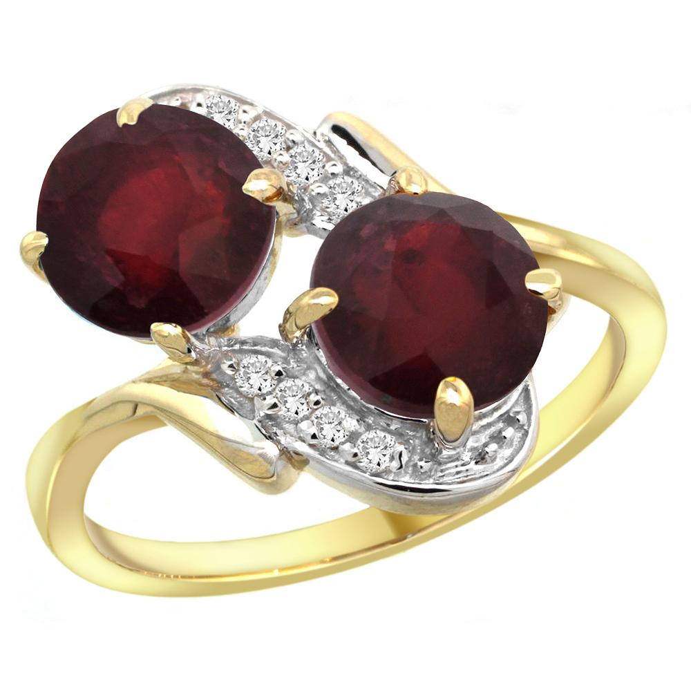 14k Yellow Gold Diamond Enhanced Genuine Ruby Mother's Ring Round 7mm, 3/4 inch wide, sizes 5 - 10