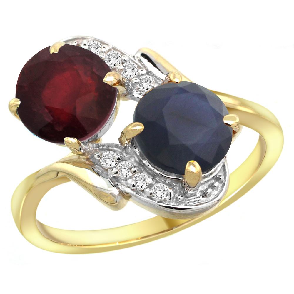 14k Yellow Gold Diamond Enhanced Genuine Ruby &Natural Quality Blue Sapphire 2-stone Ring Round7mm,sz5-10