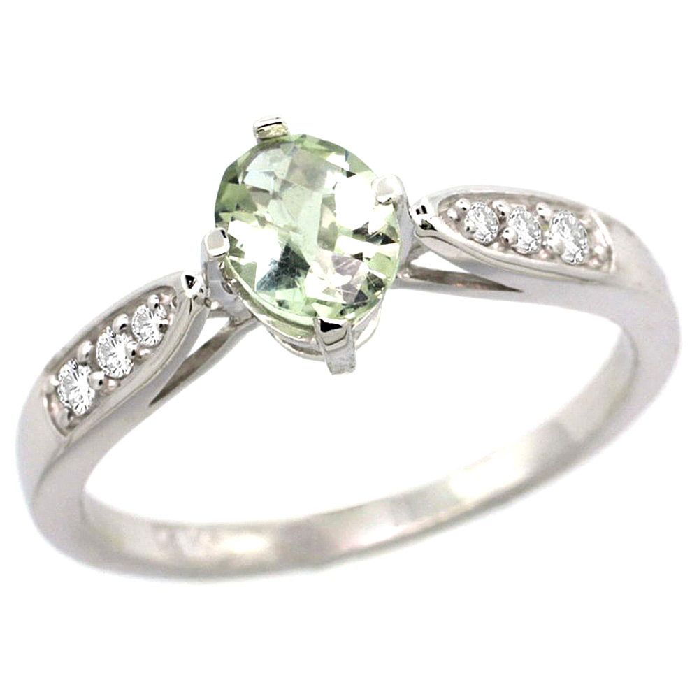 10K White Gold Diamond Natural Green Amethyst Engagement Ring Oval 7x5mm, sizes 5 - 10