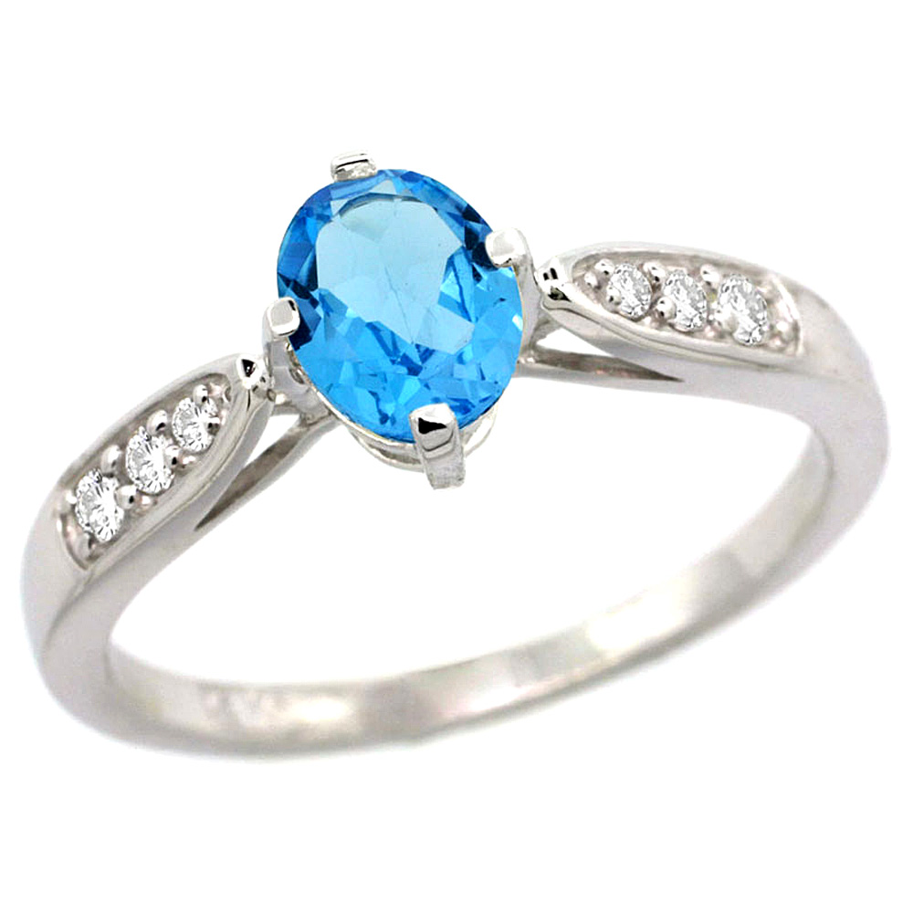 10K White Gold Diamond Natural Swiss Blue Topaz Engagement Ring Oval 7x5mm, sizes 5 - 10