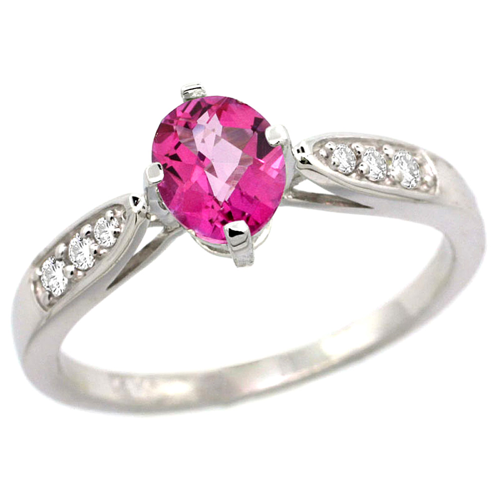 10K White Gold Diamond Natural Pink Topaz Engagement Ring Oval 7x5mm, sizes 5 - 10