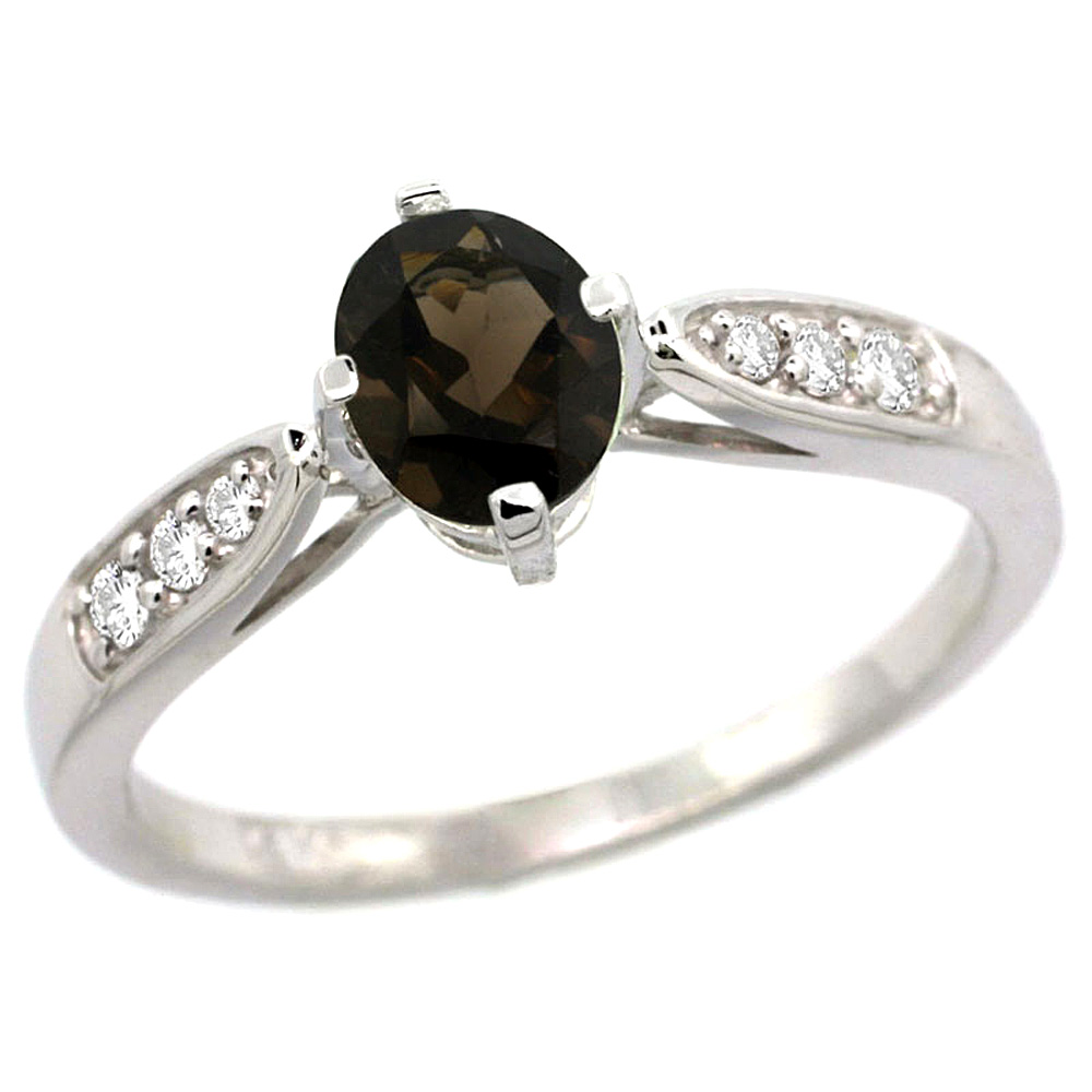 10K White Gold Diamond Natural Smoky Topaz Engagement Ring Oval 7x5mm, sizes 5 - 10
