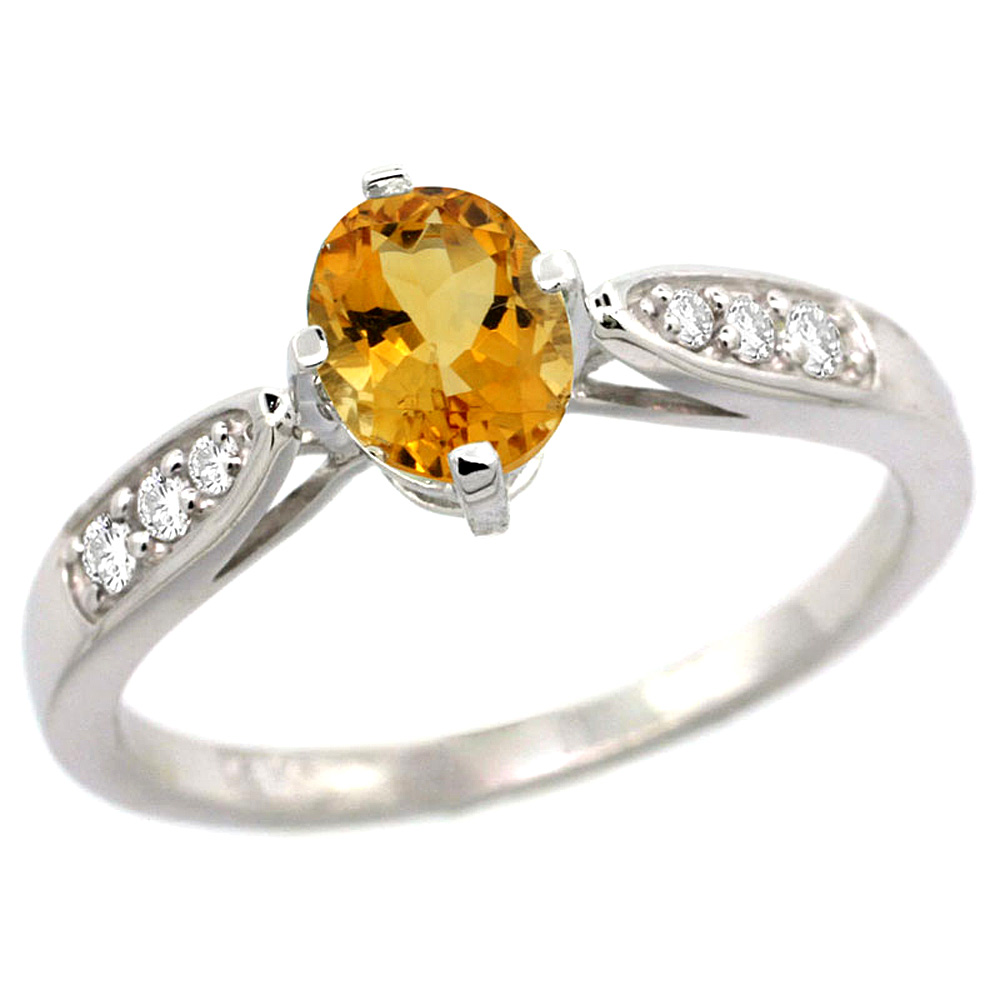 10K White Gold Diamond Natural Citrine Engagement Ring Oval 7x5mm, sizes 5 - 10