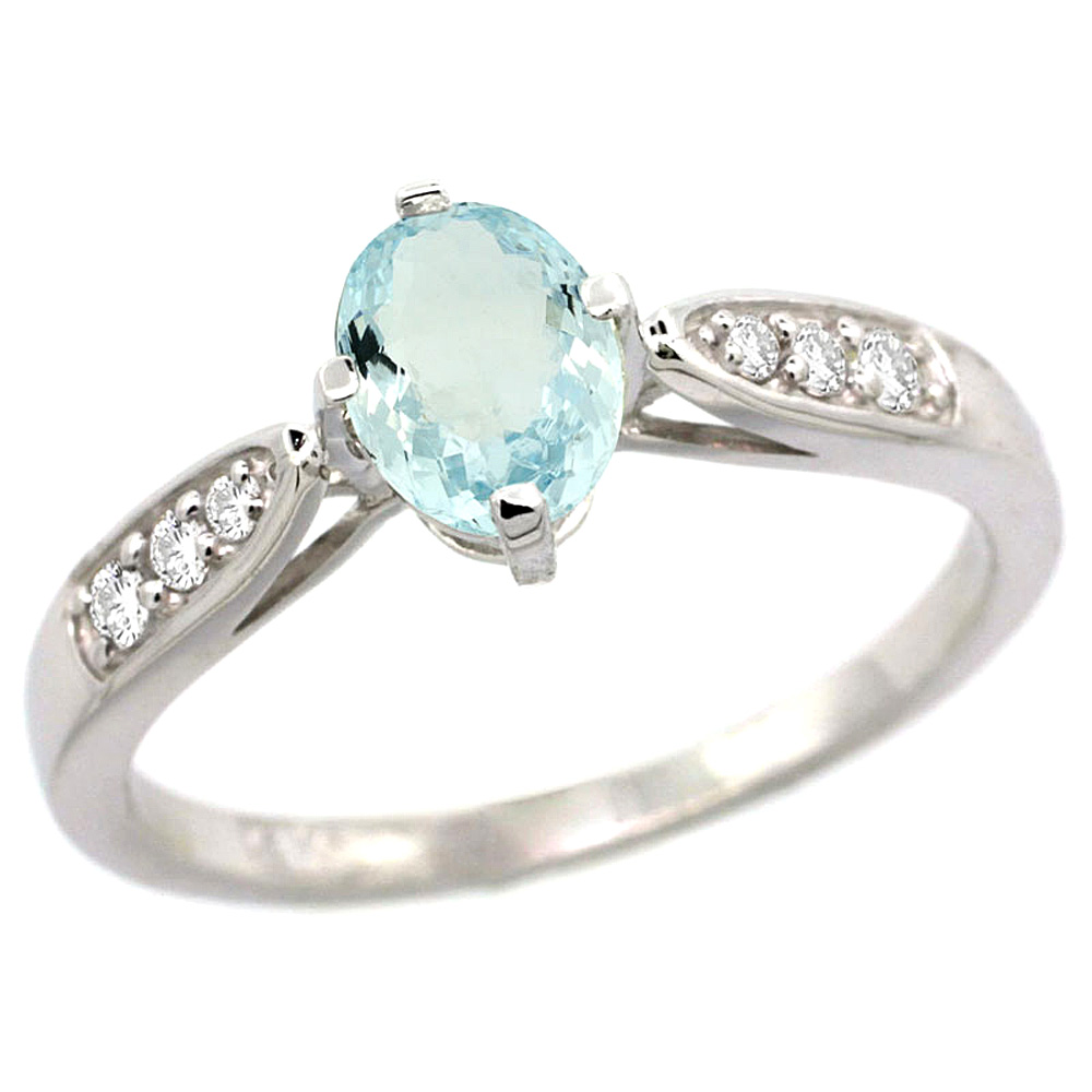 10K White Gold Diamond Natural Aquamarine Engagement Ring Oval 7x5mm, sizes 5 - 10