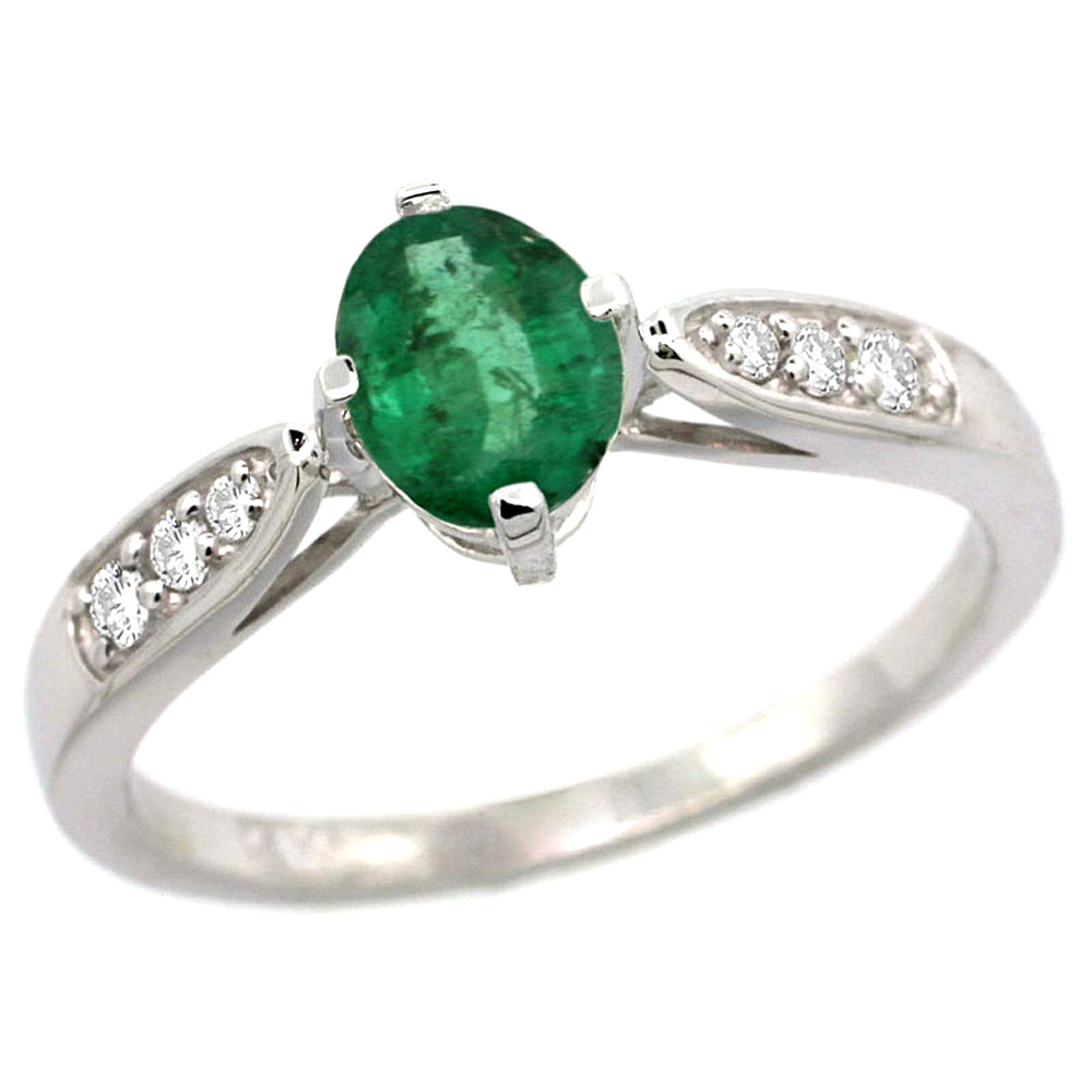 10K White Gold Diamond Natural Emerald Engagement Ring Oval 7x5mm, sizes 5 - 10