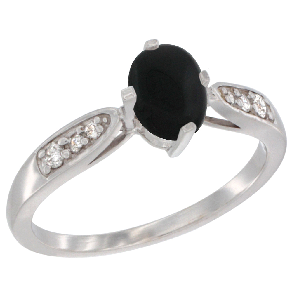 10K White Gold Diamond Natural Black Onyx Engagement Ring Oval 7x5mm, sizes 5 - 10