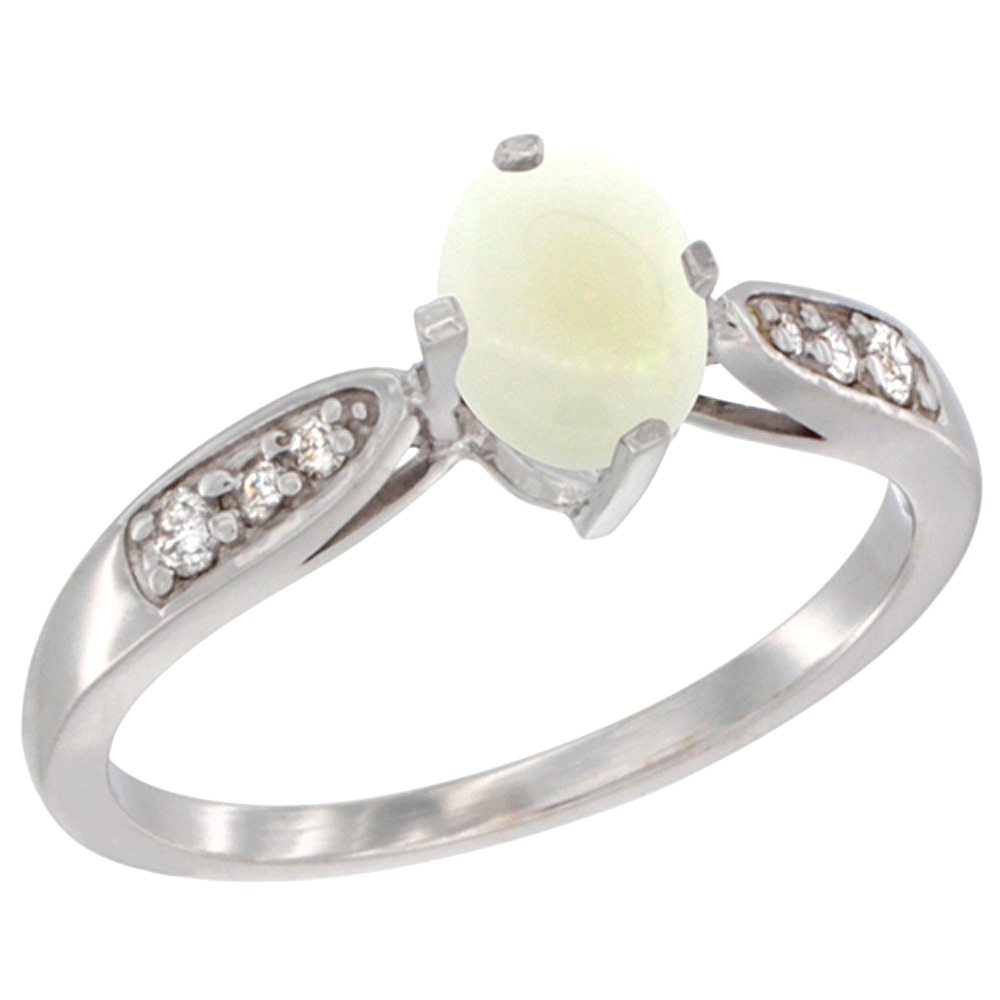 10K White Gold Diamond Natural Opal Engagement Ring Oval 7x5mm, sizes 5 - 10
