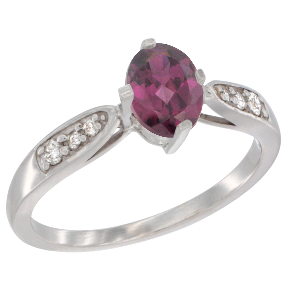 10K White Gold Diamond Natural Rhodolite Engagement Ring Oval 7x5mm, sizes 5 - 10
