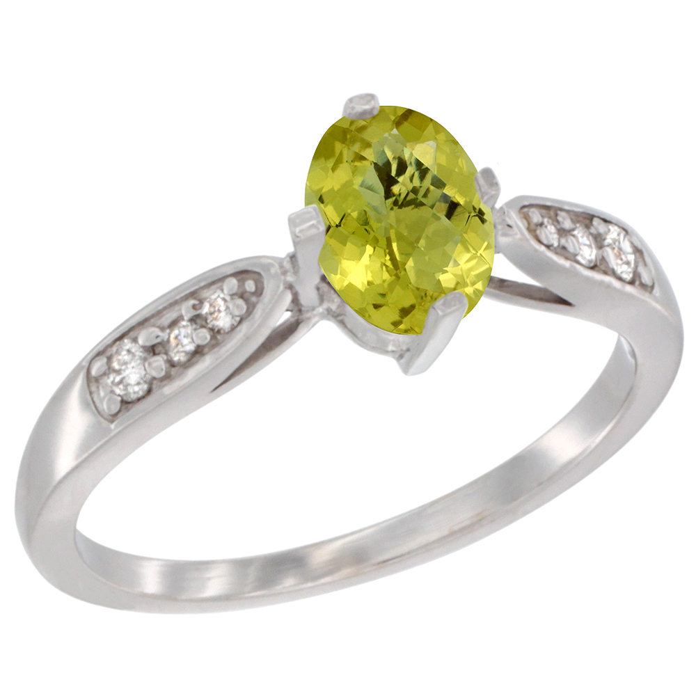 10K White Gold Diamond Natural Lemon Quartz Engagement Ring Oval 7x5mm, sizes 5 - 10
