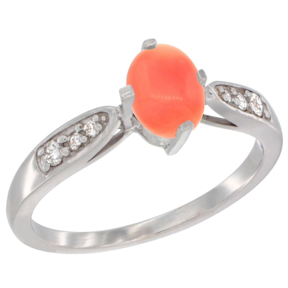 10K White Gold Diamond Natural Coral Engagement Ring Oval 7x5mm, sizes 5 - 10