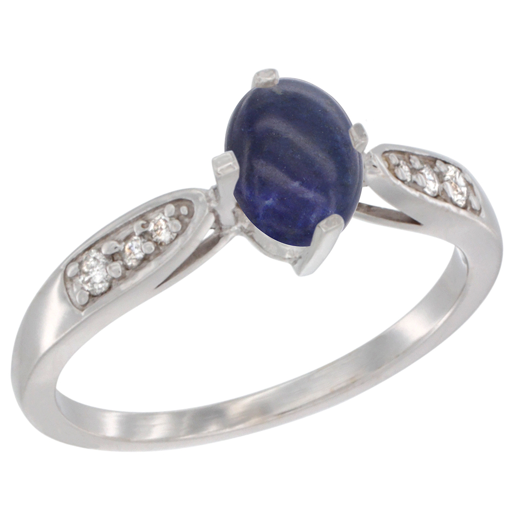 10K White Gold Diamond Natural Lapis Engagement Ring Oval 7x5mm, sizes 5 - 10