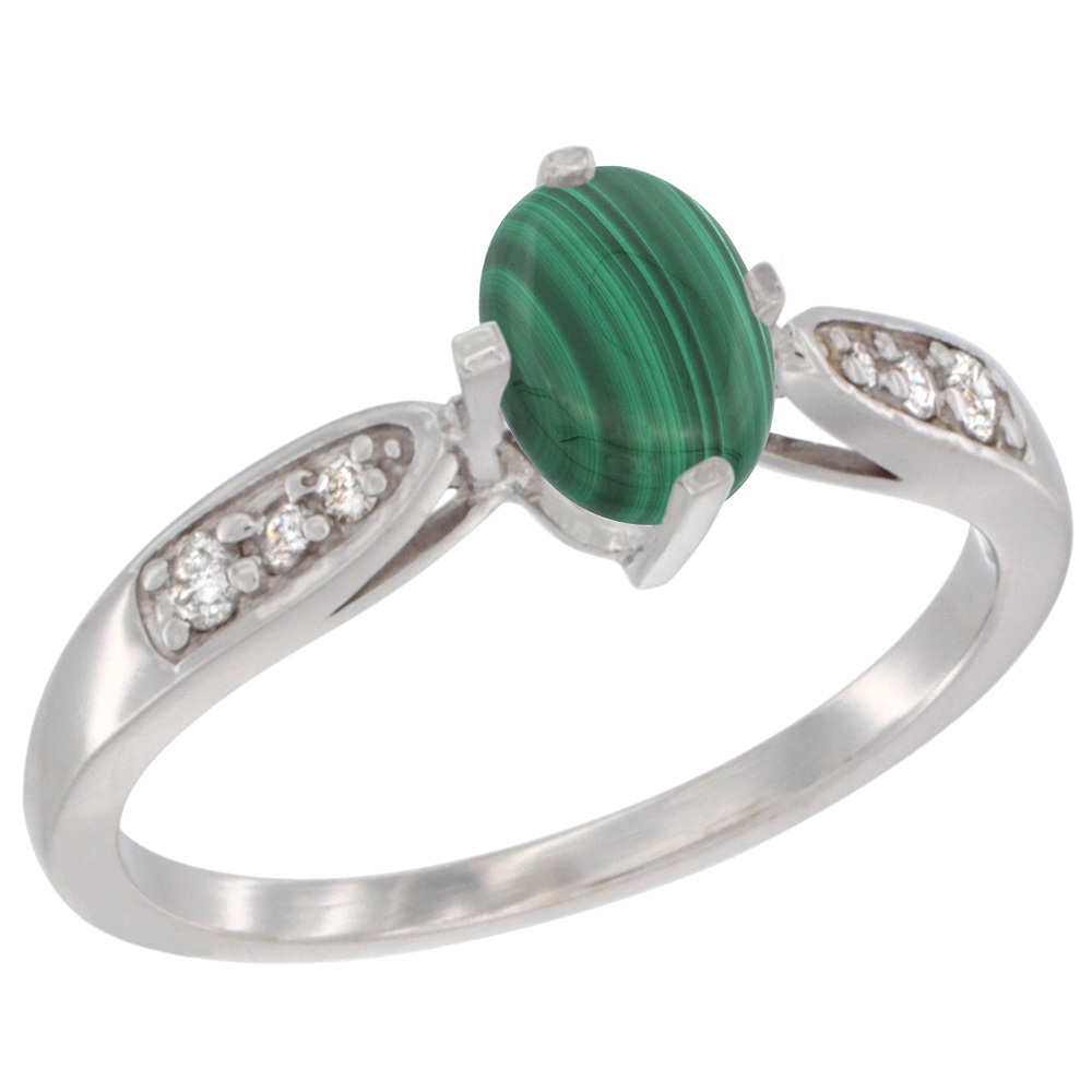 10K White Gold Diamond Natural Malachite Engagement Ring Oval 7x5mm, sizes 5 - 10