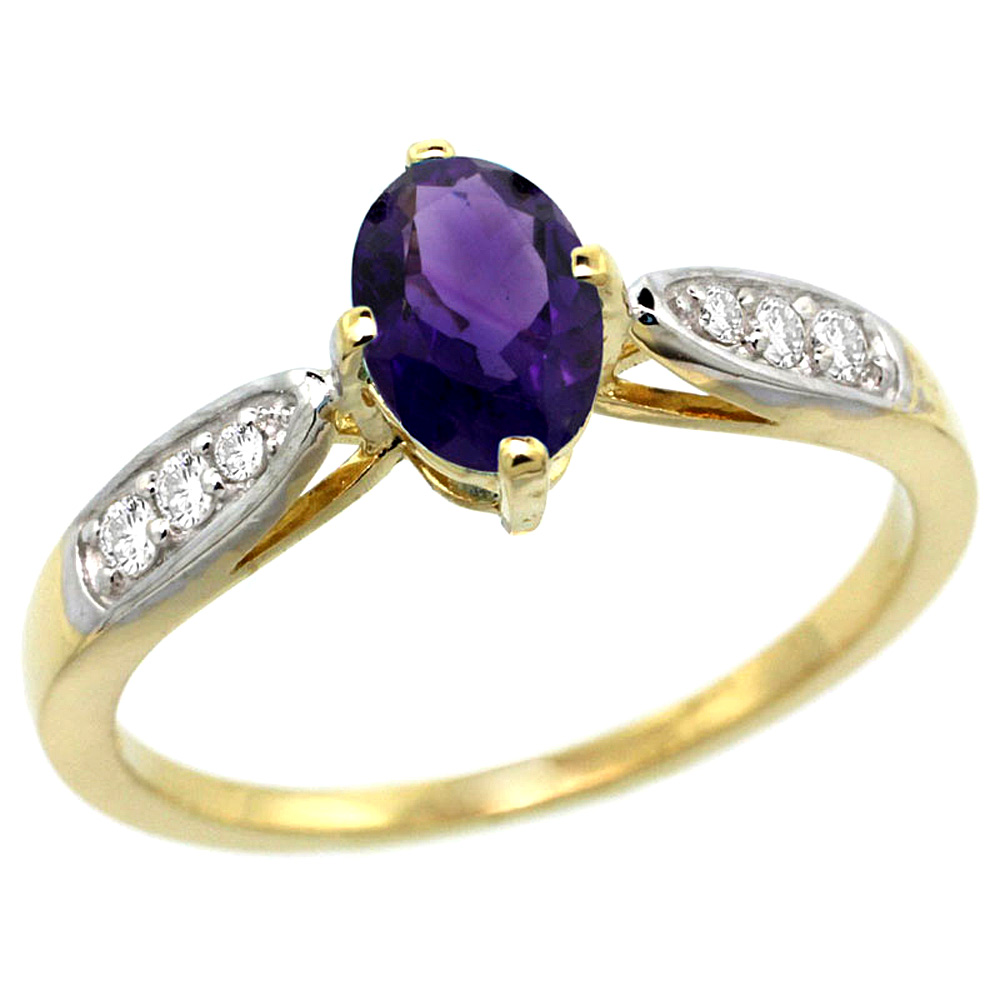 10K Yellow Gold Diamond Natural Amethyst Engagement Ring Oval 7x5mm, sizes 5 - 10