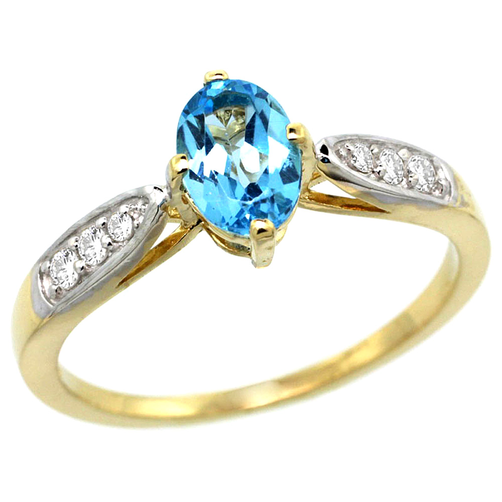 10K Yellow Gold Diamond Natural Swiss Blue Topaz Engagement Ring Oval 7x5mm, sizes 5 - 10