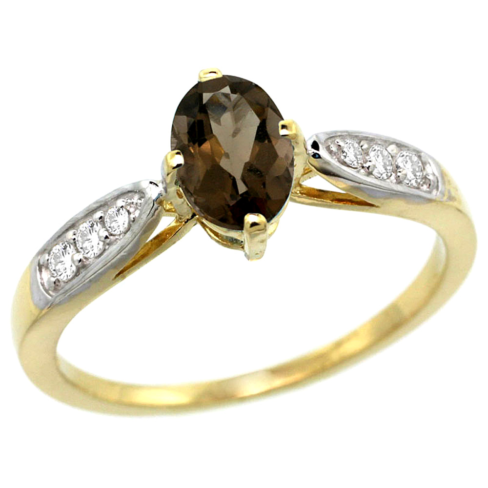 10K Yellow Gold Diamond Natural Smoky Topaz Engagement Ring Oval 7x5mm, sizes 5 - 10
