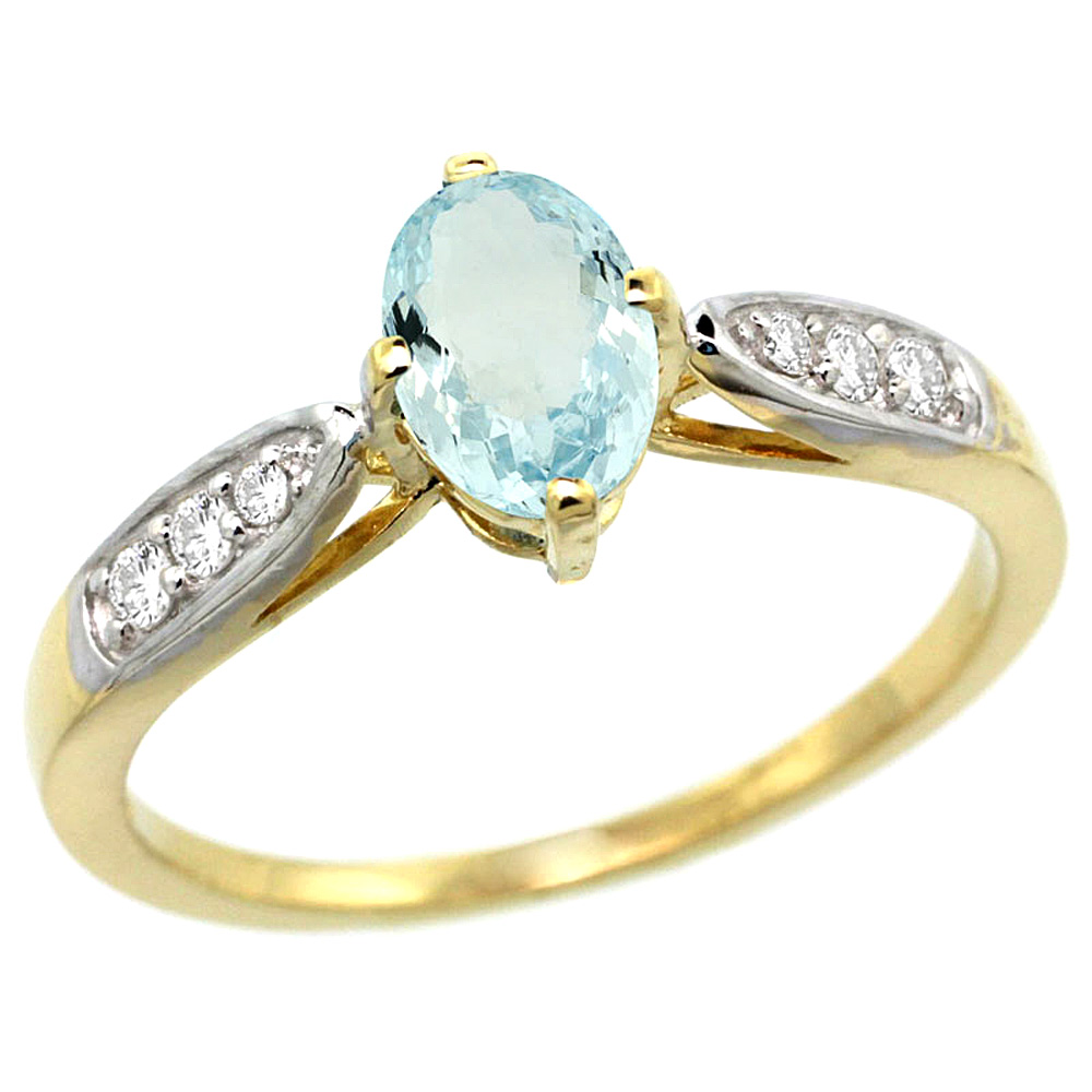 10K Yellow Gold Diamond Natural Aquamarine Engagement Ring Oval 7x5mm, sizes 5 - 10