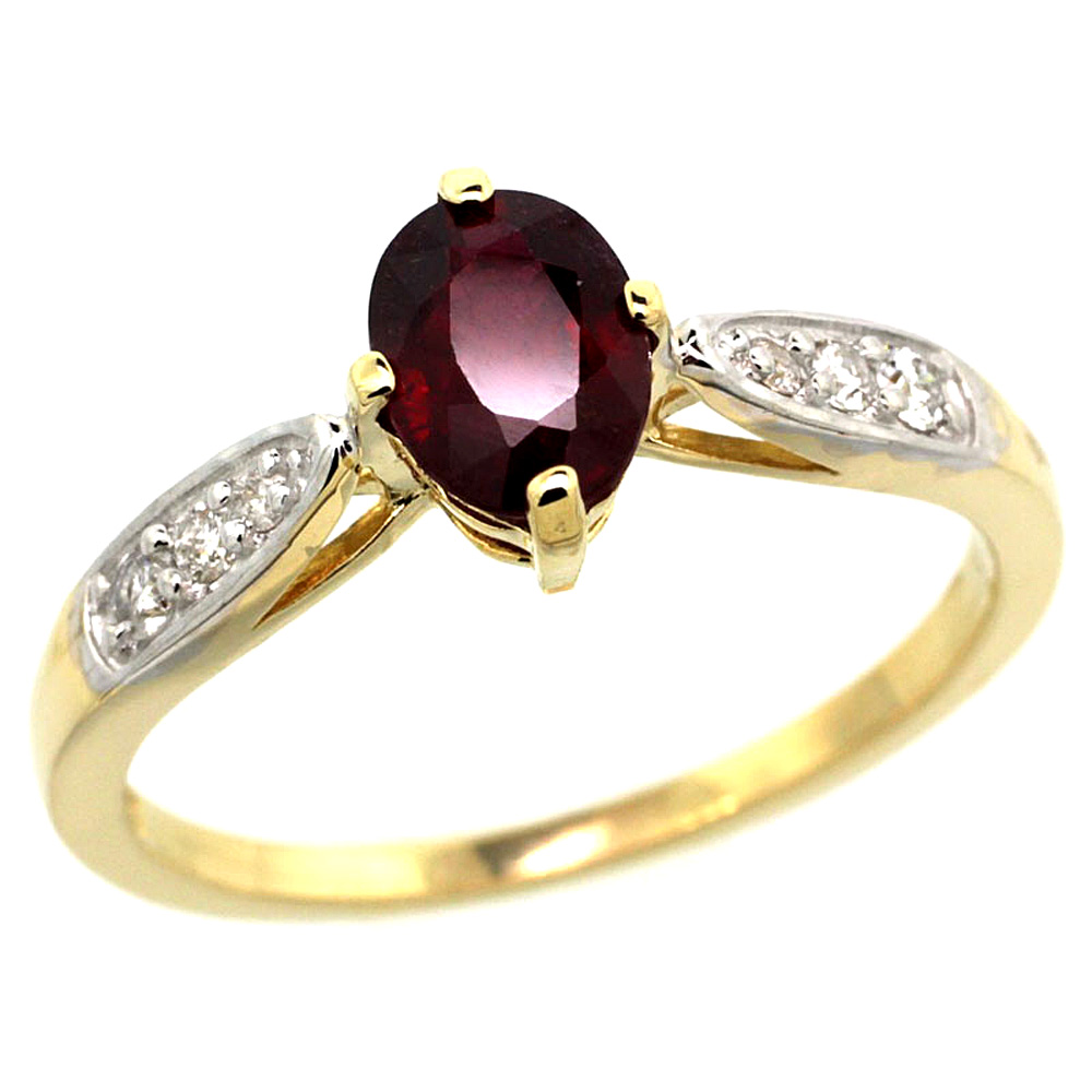 10K Yellow Gold Diamond Natural High Quality Ruby Engagement Ring Oval 7x5mm, sizes 5 - 10