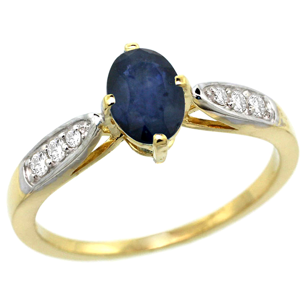 10K Yellow Gold Diamond Natural Blue Sapphire Engagement Ring Oval 7x5mm, sizes 5 - 10