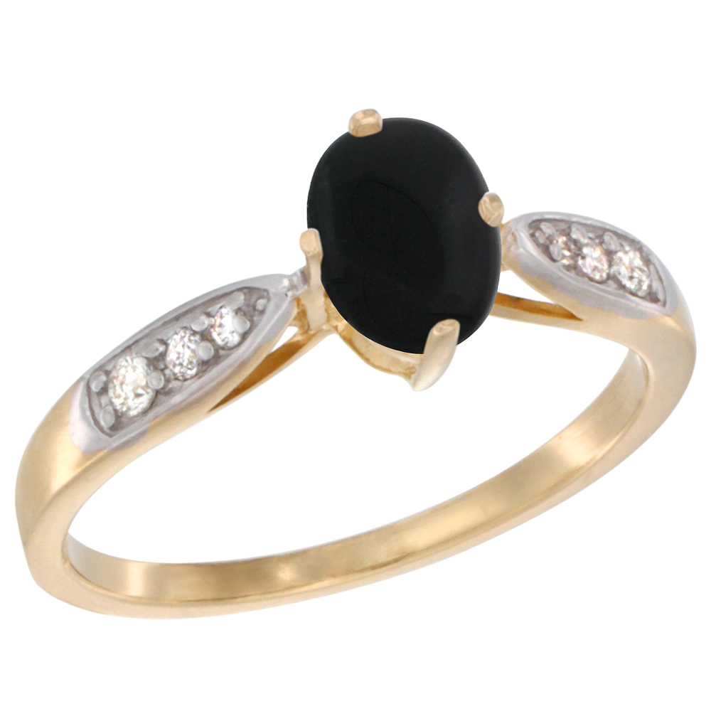10K Yellow Gold Diamond Natural Black Onyx Engagement Ring Oval 7x5mm, sizes 5 - 10