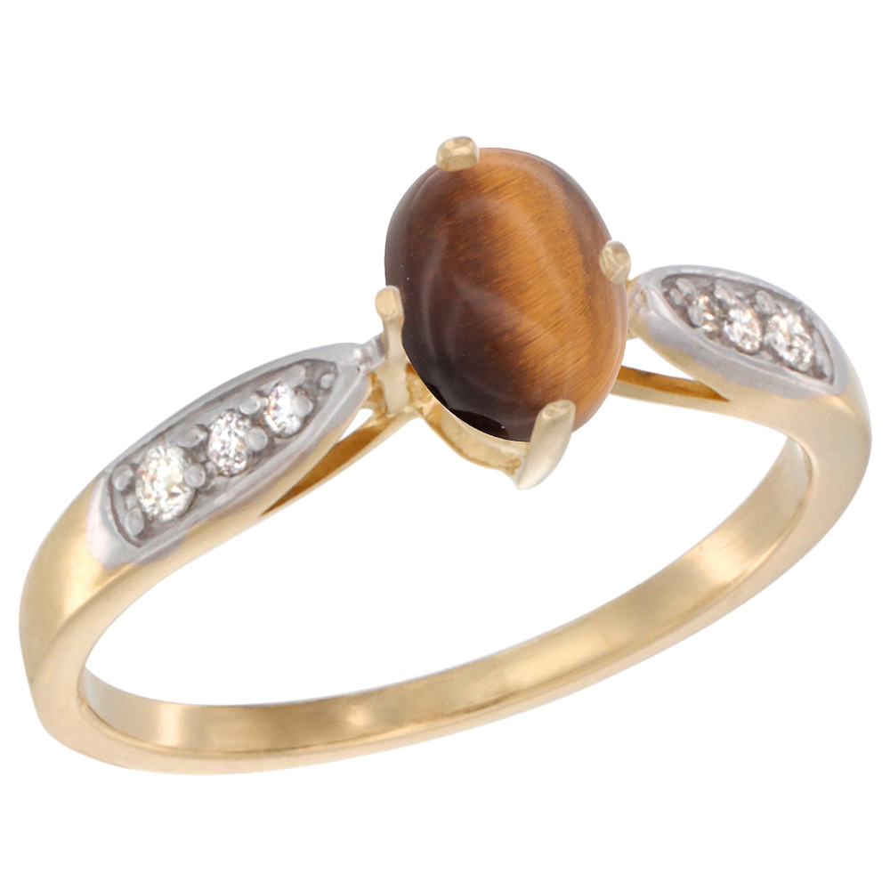 10K Yellow Gold Diamond Natural Tiger Eye Engagement Ring Oval 7x5mm, sizes 5 - 10