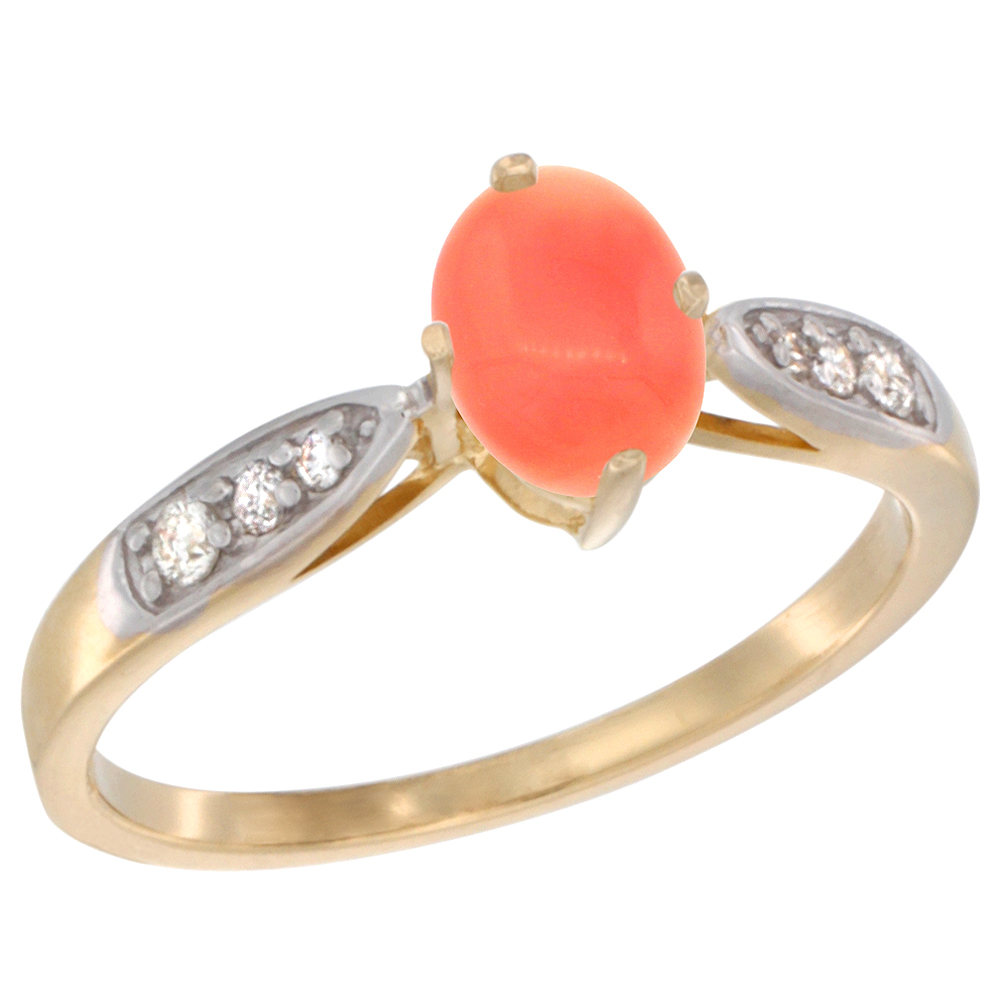10K Yellow Gold Diamond Natural Coral Engagement Ring Oval 7x5mm, sizes 5 - 10